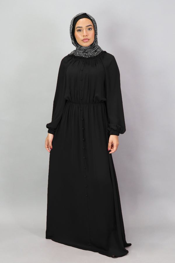 Black Deluxe Soft Chiffon Button Front Dress (5300889387176)