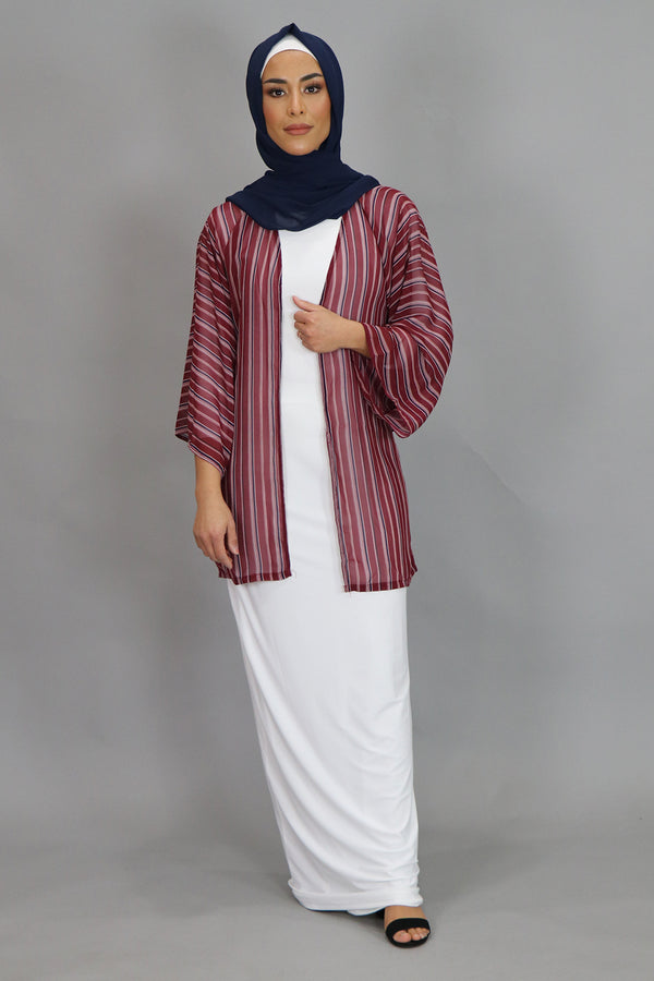 Burgundy Striped Wide Sleeves Kimono (4547805085753)