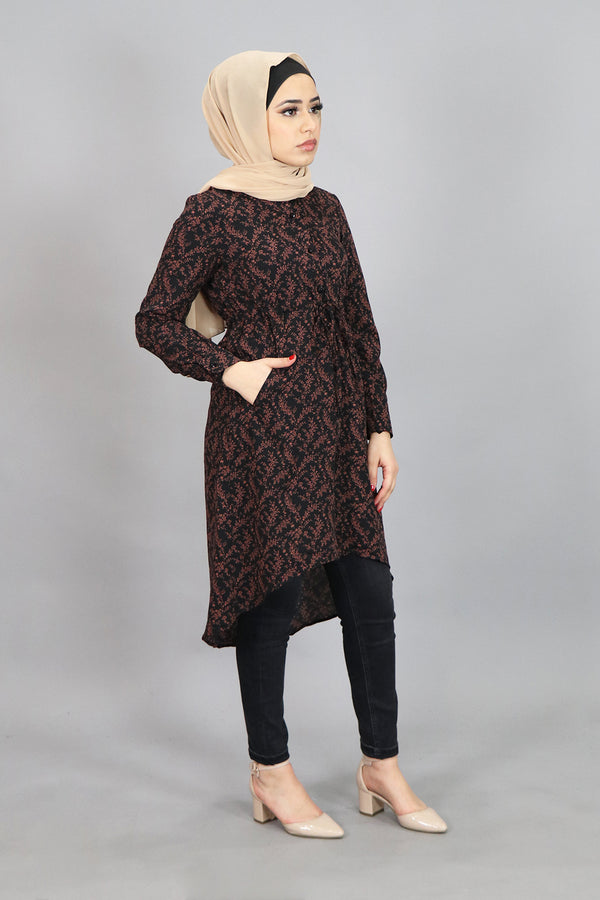 Black Floral Buttoned-Down Tunic (4537301696569)
