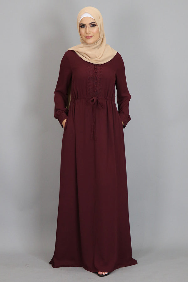 Mahogany Lace Chiffon Button Maxi Dress (2479959605305)