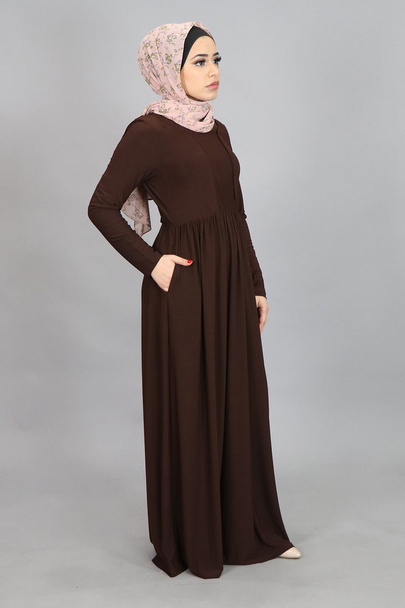 Dark Brown Spandex Outline Maxi Dress (4542273880121)