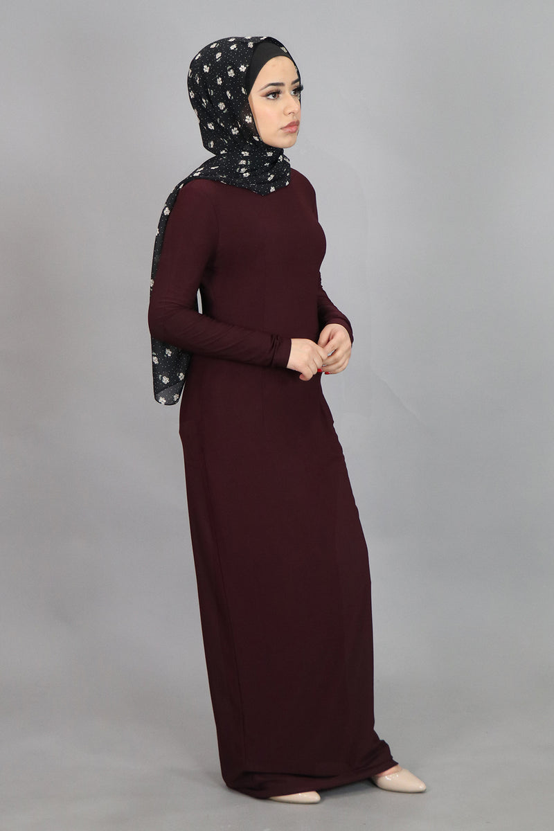 Mahogany Plain Fitted Spandex Maxi Dress (4540249997369)
