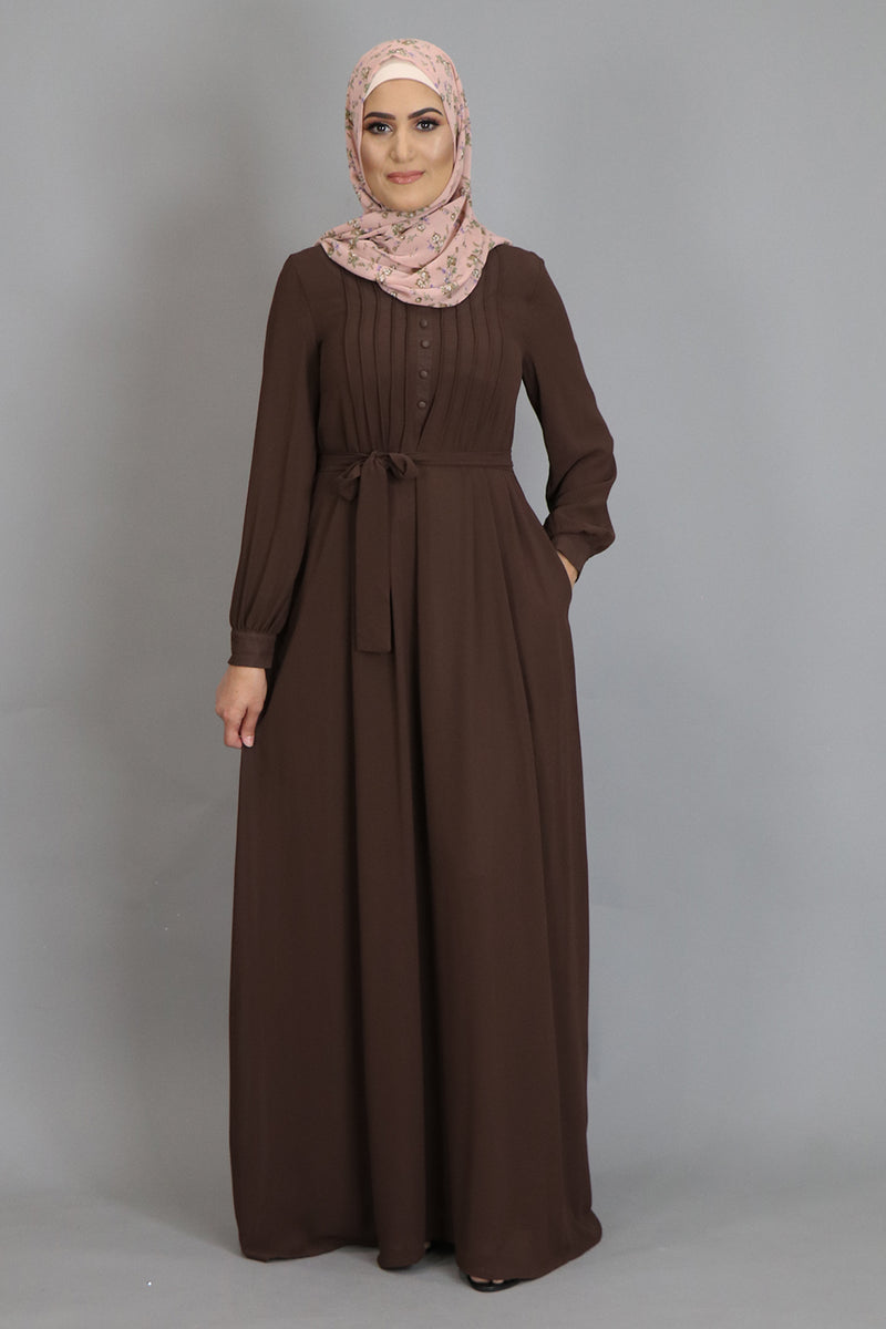 Chocolate Brown Pleated Chiffon Abaya (2452664287289)