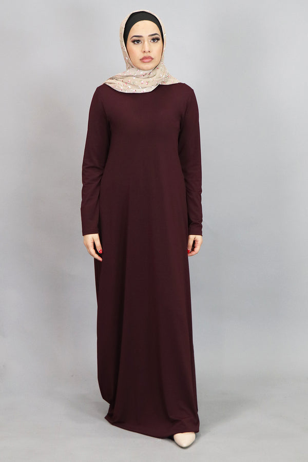 Mahogany Long Sleeve Spandex Maxi Dress (4534798450745)
