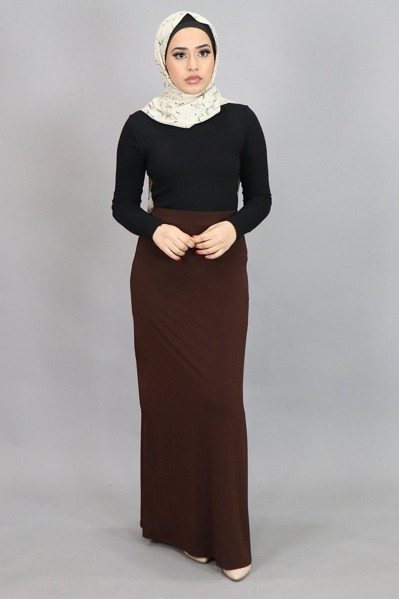 Brown Spandex Maxi Skirt (4537004163129)