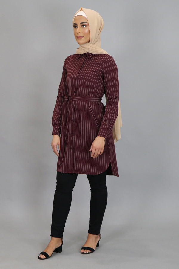 Mahogany Striped Long Blouse (4545273856057)