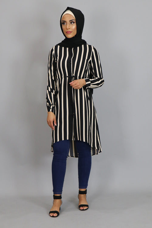 Cream Striped Buttoned-Down Tunic Dress (2381462077497)