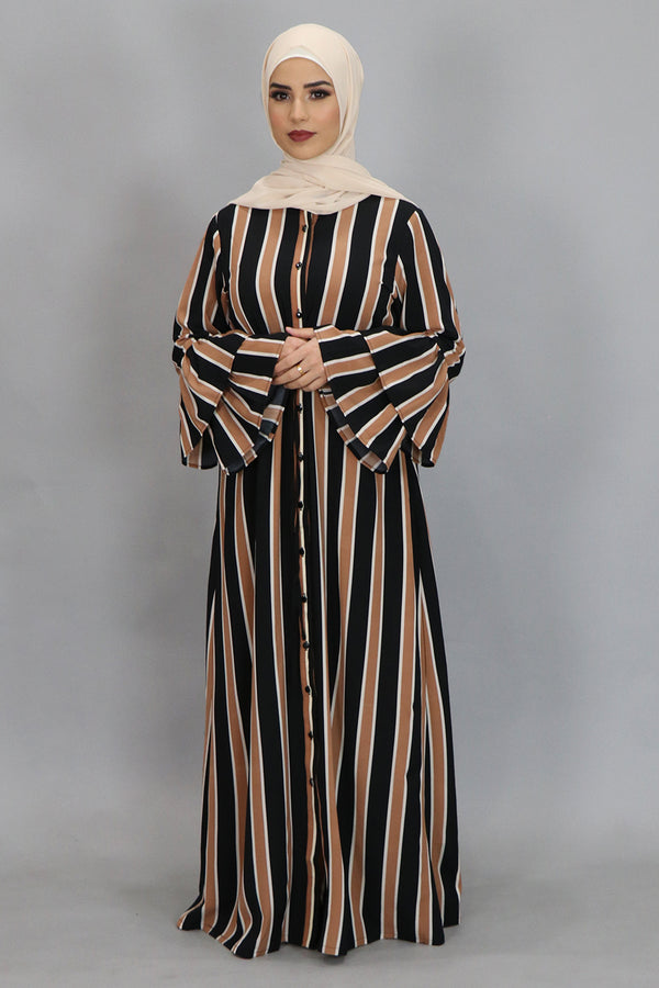 Caramel Striped Bell Sleeve Buttoned-Down Maxi Dress (4364244287545)