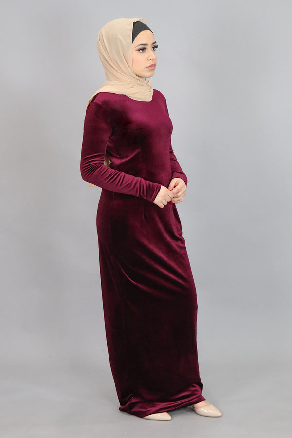 Burgundy Plain Fitted Velvet Maxi Dress (4549813305401)
