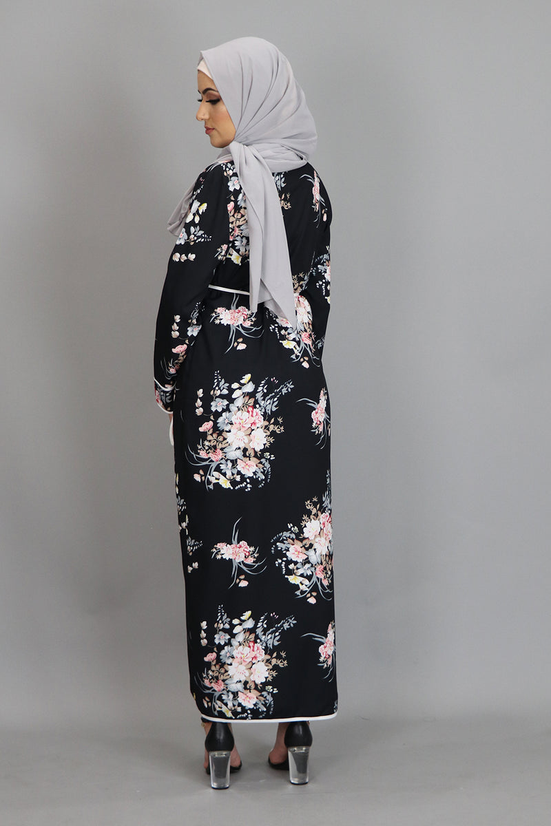 Black Floral Wrap Dress (2452685422649)