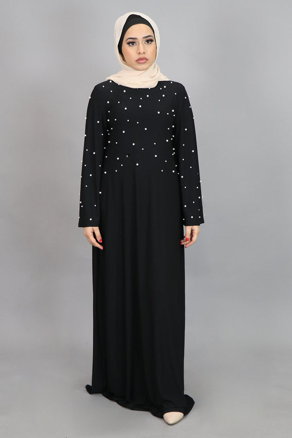 Black Wide Sleeve Pearls Spandex Maxi Dress (4516926292025)