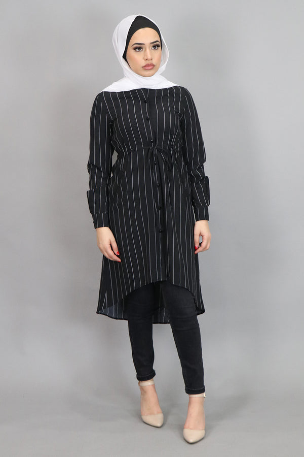 Black Striped Buttoned-Down Tunic (4537306021945)