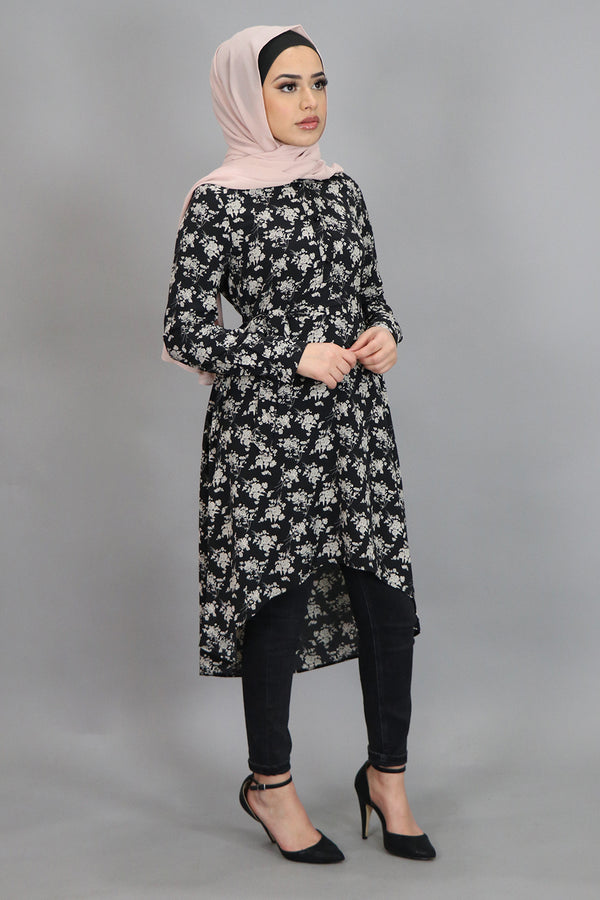 Black/Beige Floral High Low Tunic (4545283489849)