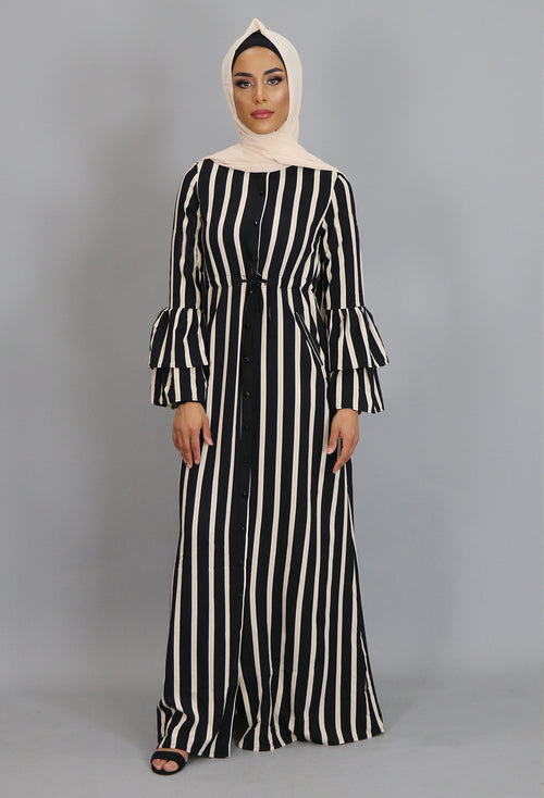 Cream Striped Buttoned-Down Maxi Dress