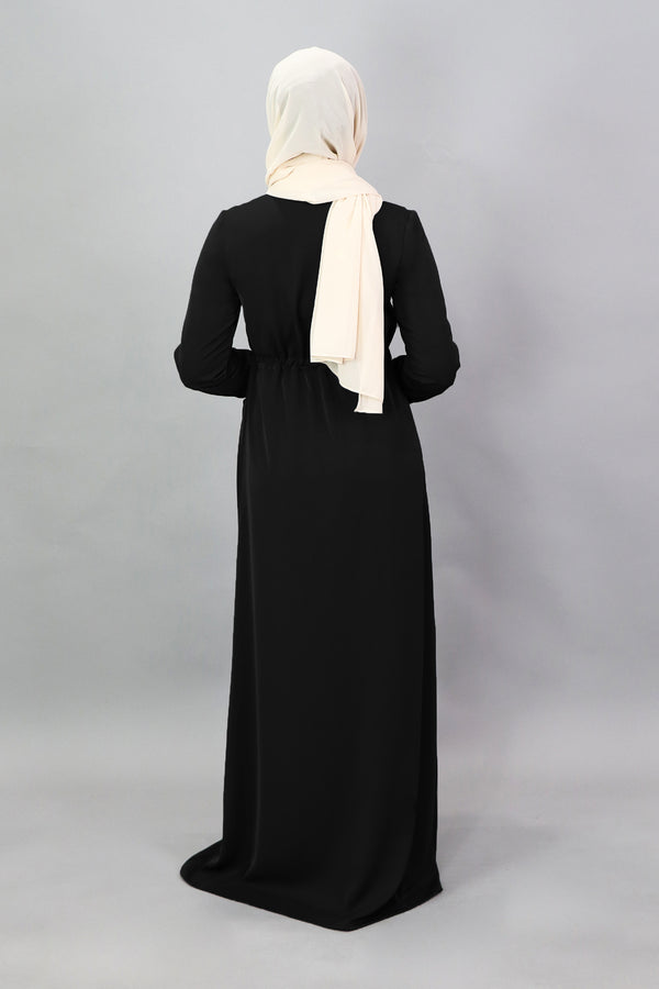 Black Deluxe Soft Zipper-Down Maxi Dress (5257518317736)