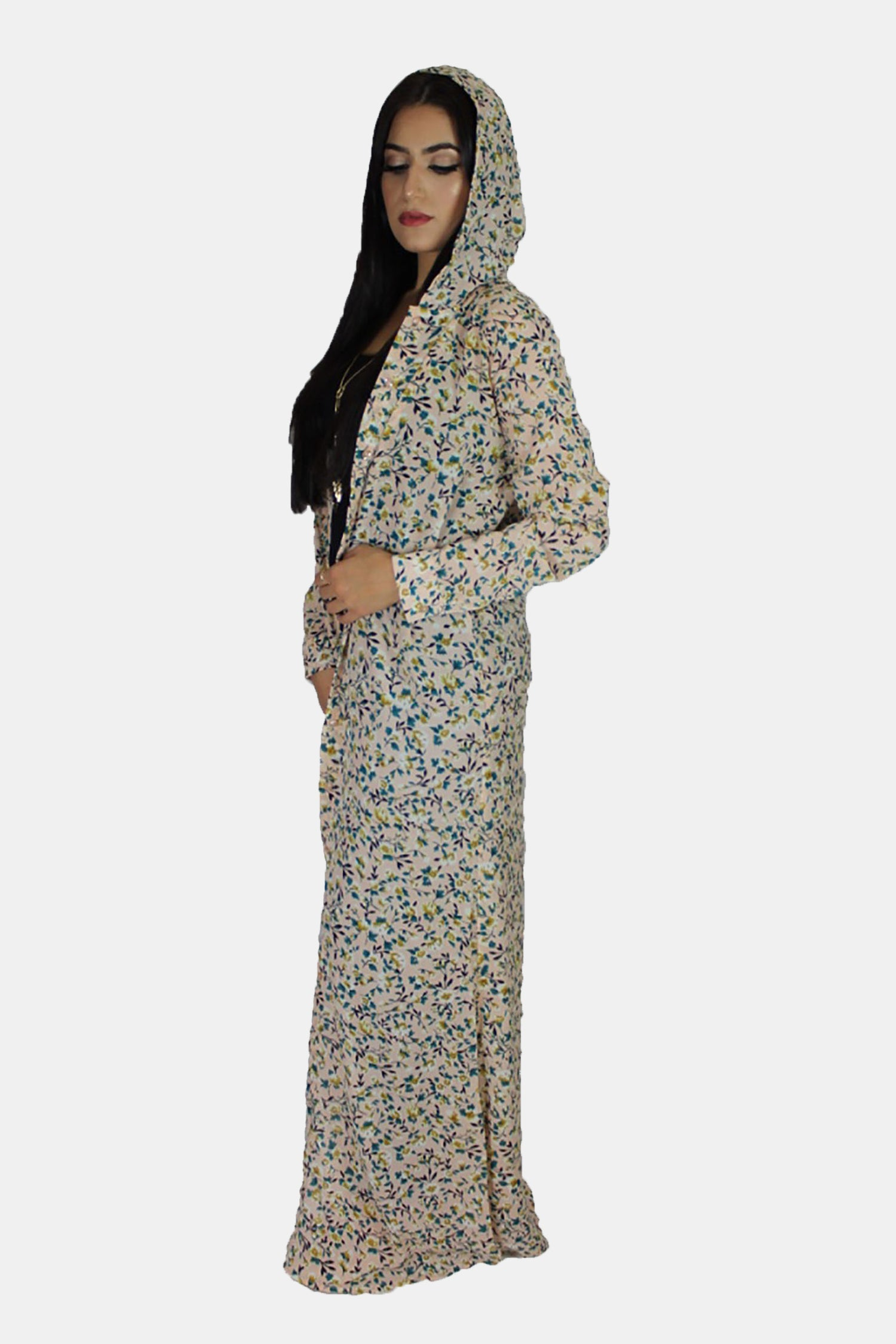 8c93d519c63 Pink Floral Chiffon Hooded Abaya Buttoned-Down Cardigan Dress ...