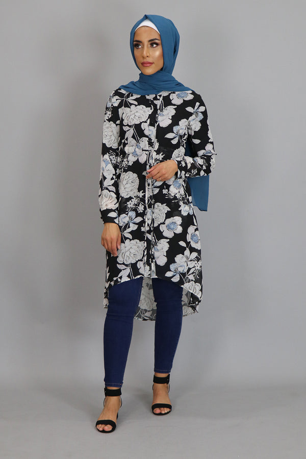 Black Floral Buttoned-Down Tunic Dress (2381434486841)