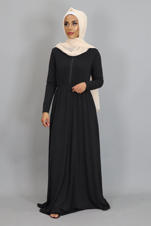 Black Pleated Spandex Maxi Dress