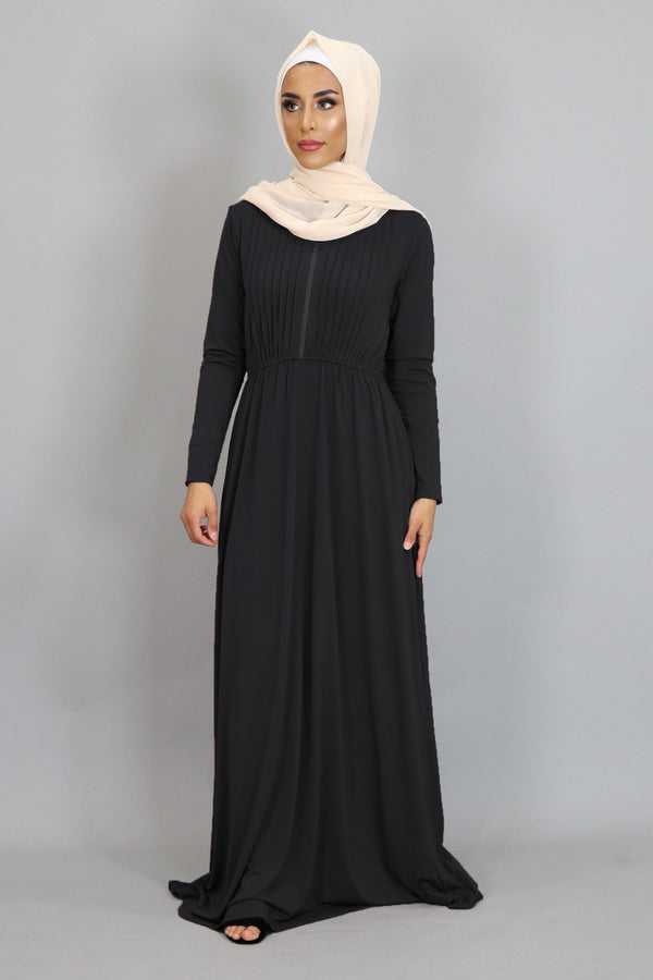 Black Pleated Spandex Maxi Dress (2452680343609)