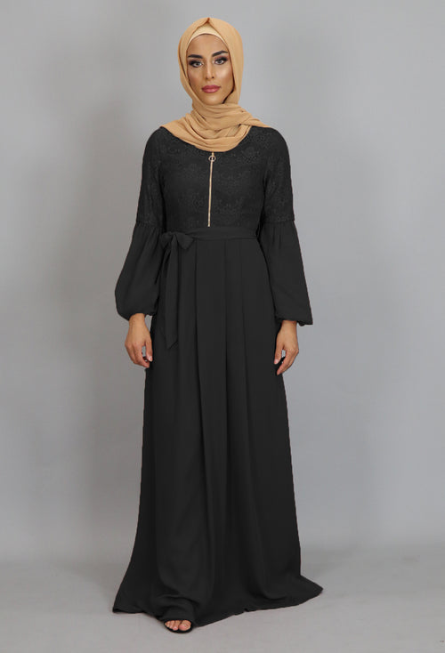 Black Lace Chiffon Maxi Dress