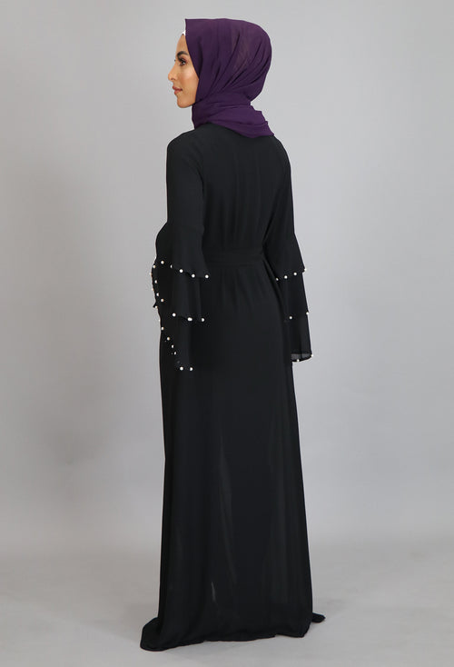 Black Chiffon Pearls Abaya Cardigan Dress