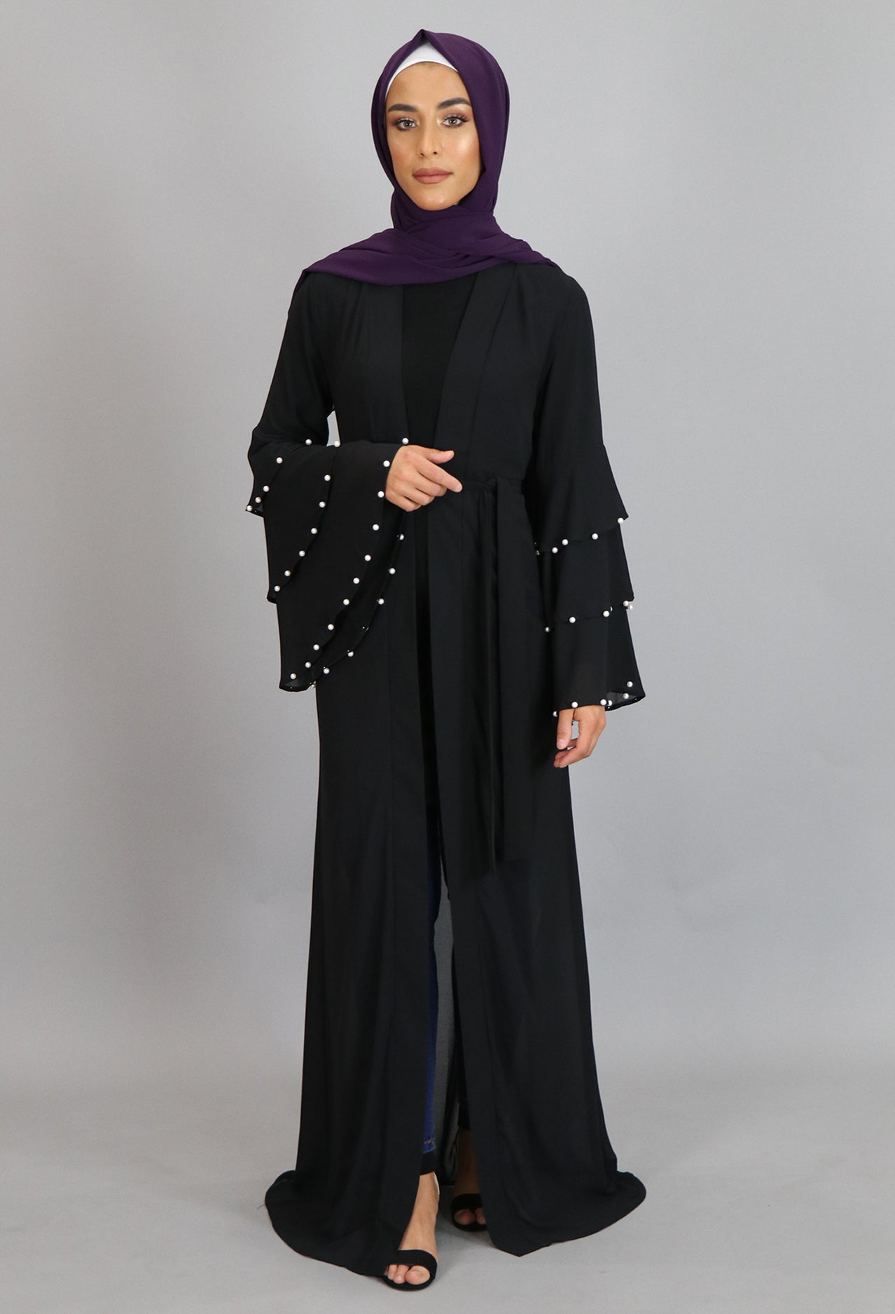 Black Chiffon Pearls Abaya Cardigan Dress (2223653224505)
