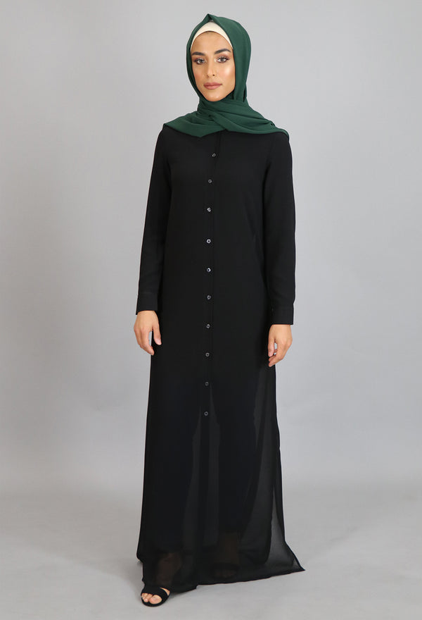 Black Chiffon Hooded Abaya Buttoned-Down Cardigan Dress (8306656003)