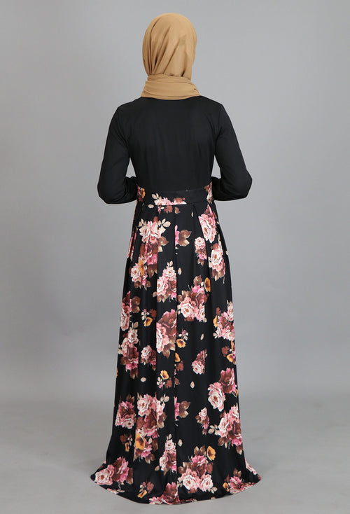 Black Pleated Floral Maxi Dress