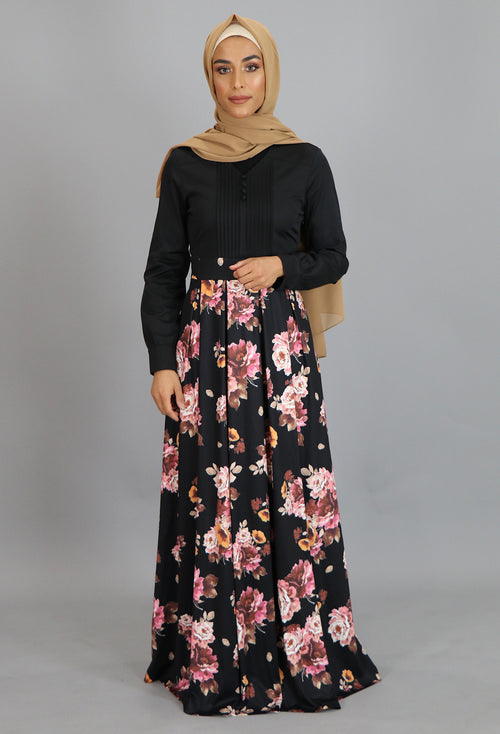 Black Pleated Floral Maxi Dress (2223665545273)