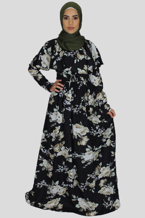 Black Ruffle Floral Maxi Dress