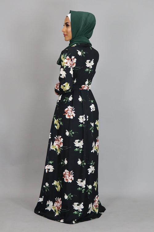 Black Floral Folds Maxi Dress (2381600292921)