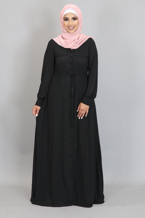 Black Chiffon Buttoned-Down Maxi Dress