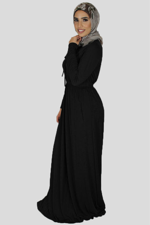 Black Lace-up Spandex Maxi Dress (1395981975609)