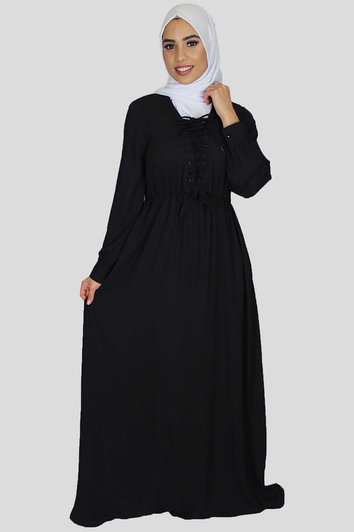 Black Lace-up Chiffon Maxi Dress (754994053177)