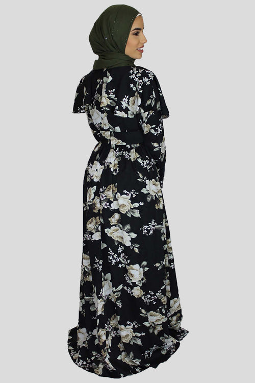 Black Ruffle Floral Maxi Dress (978779766841)