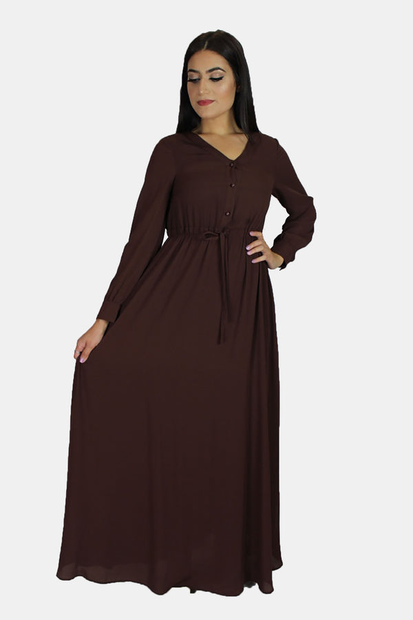 Chocolate Brown Chiffon Button Maxi Dress (11218965710)