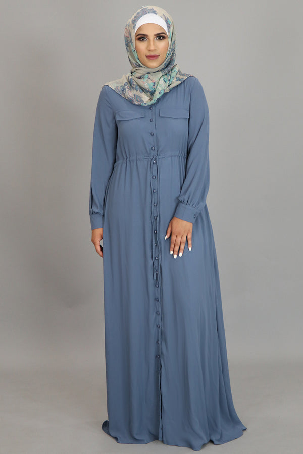 Stormy Blue Chiffon Buttoned-Down Maxi Dress (2361378144313)