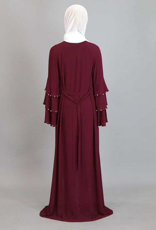Burgundy Chiffon Pearls Abaya Buttoned-Down Cardigan Dress (2223658172473)