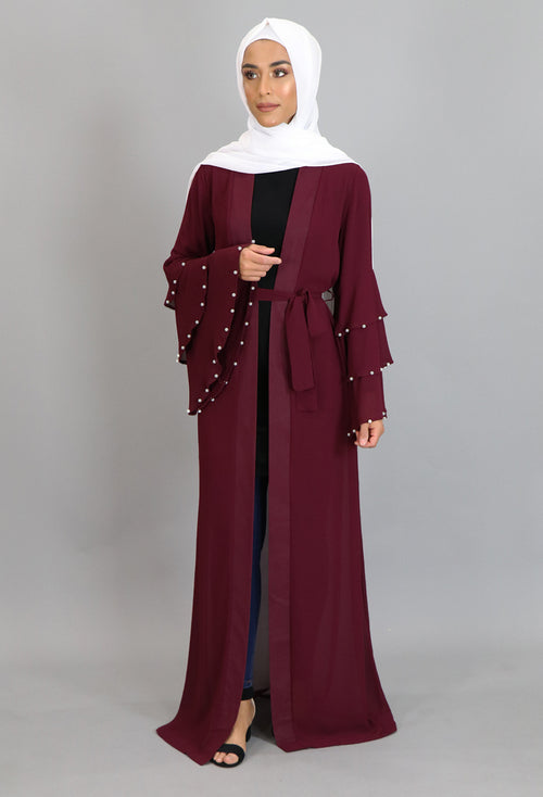 Burgundy Chiffon Pearls Abaya Buttoned-Down Cardigan Dress