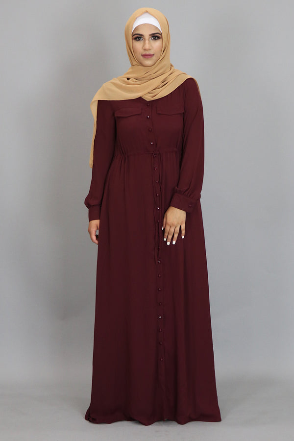 Wine Red Chiffon Buttoned-Down Maxi Dress (2361322864697)