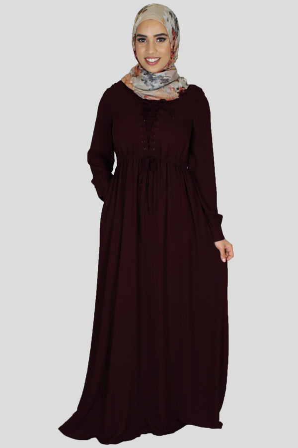Mahogany Lace-up Chiffon Maxi Dress (754844893241)