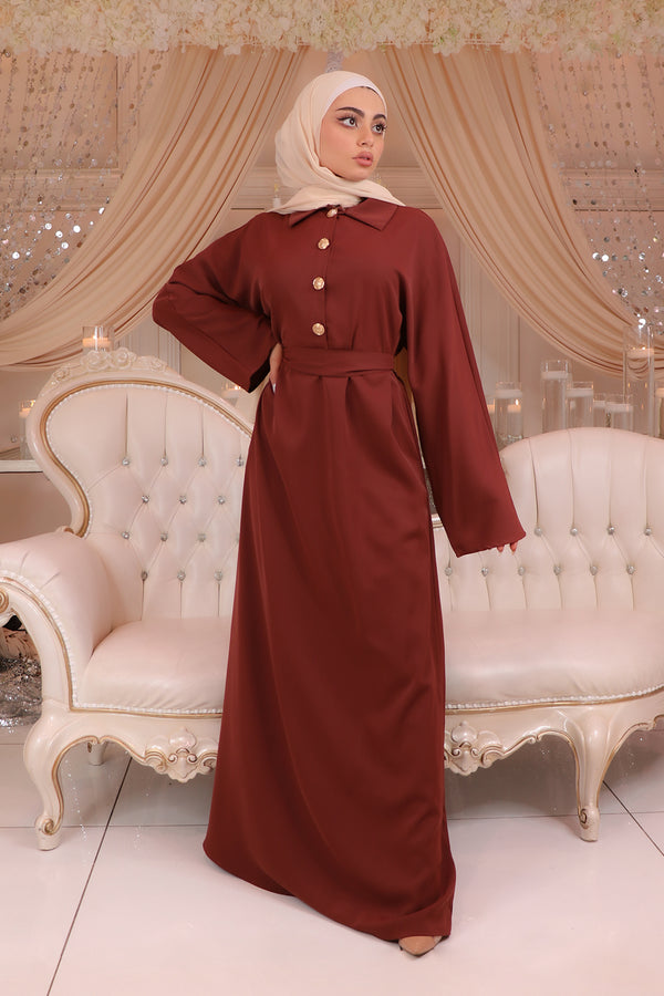 Deluxe Soft Batwing Dress- Burnt Sienna
