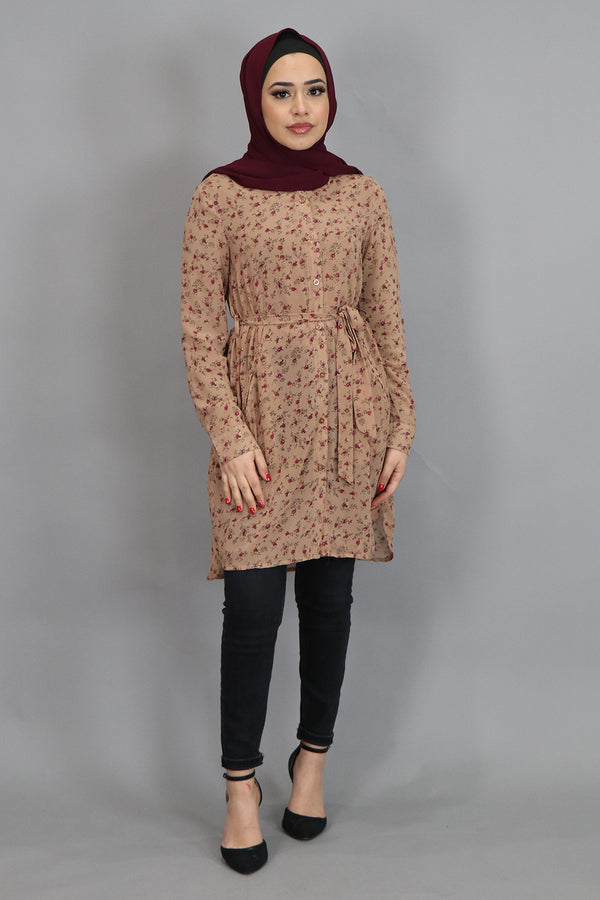 Tan Floral Long Blouse (4545265401913)
