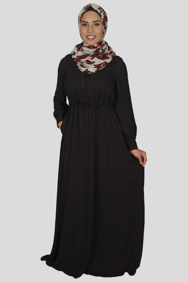 Chocolate Brown Lace-up Chiffon Maxi Dress (1484059607097)