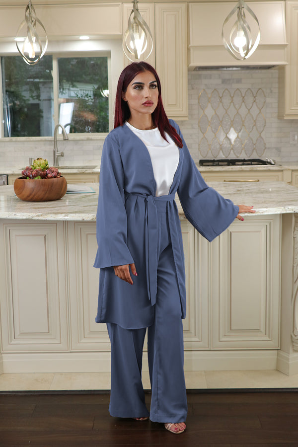 Deluxe Soft Wide Sleeve Cardigan- Blue Gray