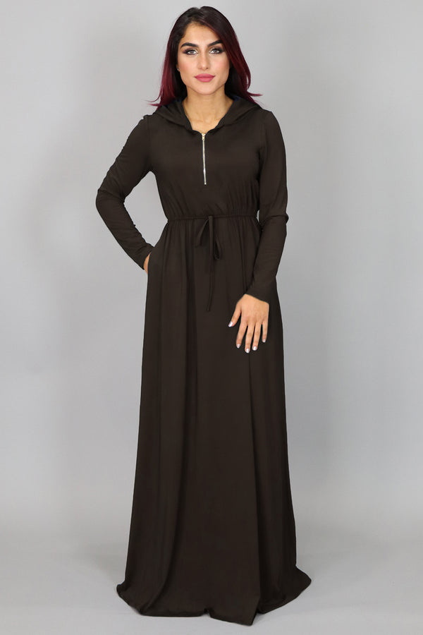 Dark Brown Alexa Zipper Maxi Dress (2097545281593)