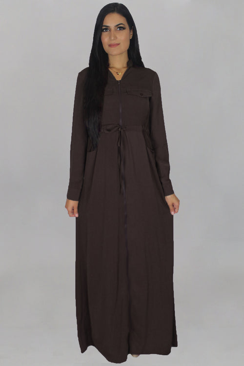 Dark Brown Zipper-Down Maxi Dress (2183671644217)