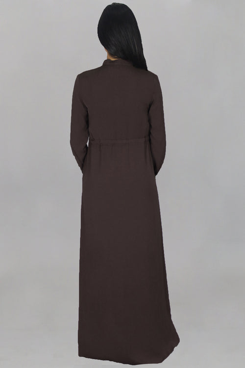 Dark Brown Zipper-Down Maxi Dress
