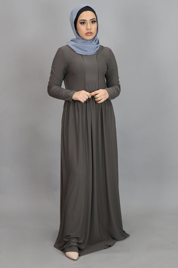 Ash Gray Spandex Outline Maxi Dress (4540276015161)