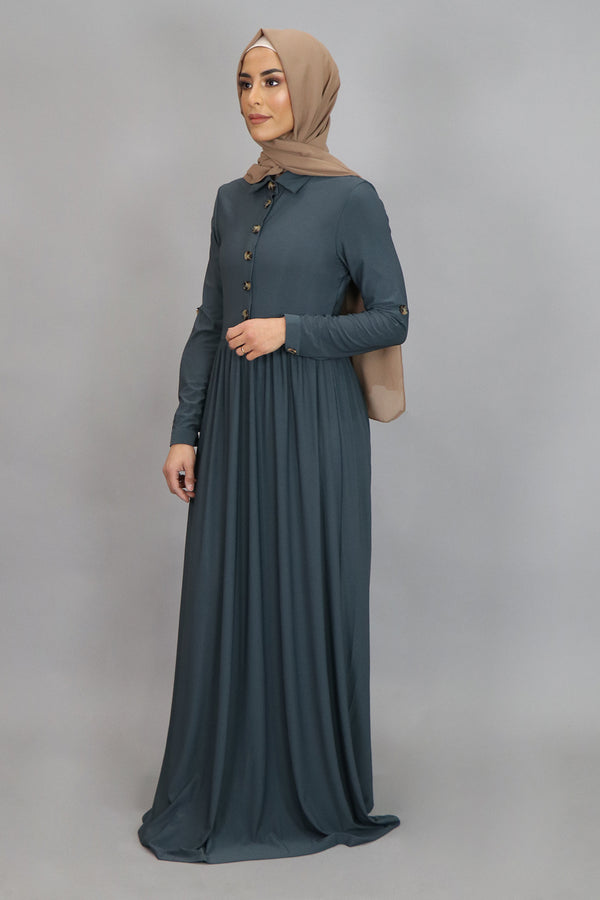 Blue Gray Button-Up Spandex Maxi Dress (4549640192057)